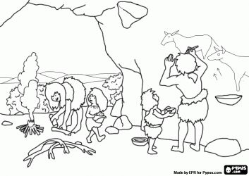 A Prehistoric Family In The Cave The Woman Prepares The