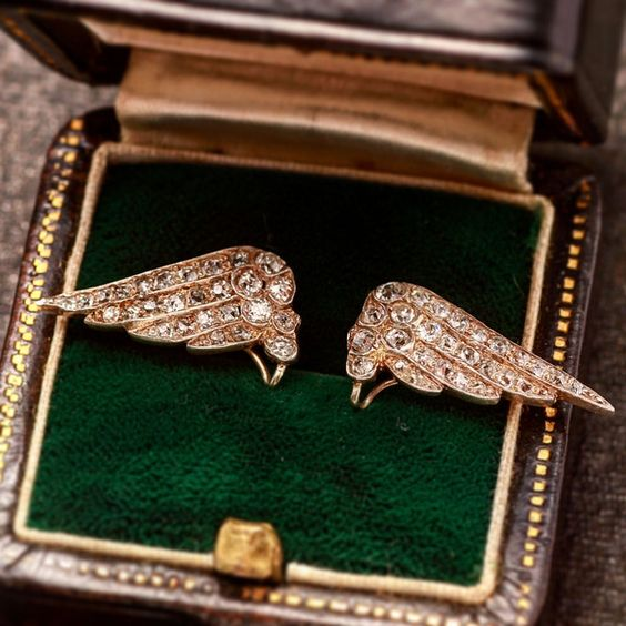 Edwardian Diamond Wing Earrings, c. 1910, $3750.