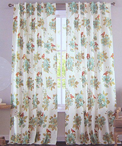 Envogue Window Curtains Birds Large Flowers 50-by-96-inches 100 ...