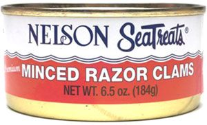 Minced Razor Clams - Native to our west coast beaches, the unique flavor of the razor clam is captured in each 6.5 oz. can. Razor clams are minced and packed in broth with just a touch of sea salt for flavor.