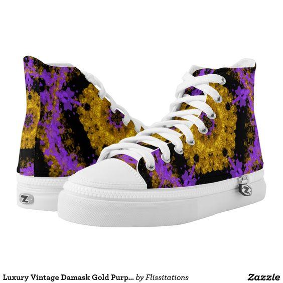 Luxury Vintage Damask Gold Purple Black Printed Shoes