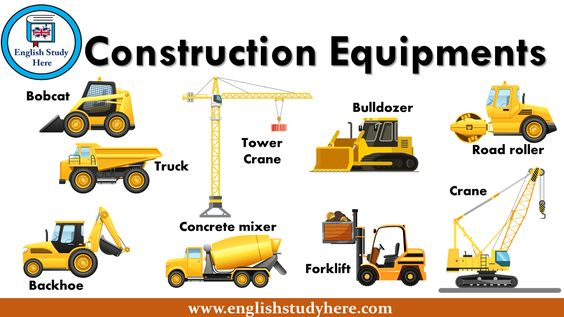 Construction Equipments Names Truck Tower Crane Road Roller Forklift Crane Concrete Mixer Bulldozer Bobca English Study Construction Equipment English Phrases