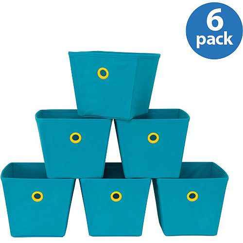 Mainstays Mini Bins, Teal with Lime Grommets, Set of 6: Storage & Organization : Walmart.com