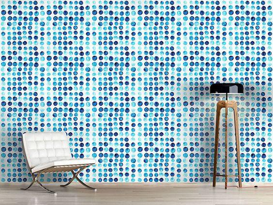 Design #Tapete Wasserfarben Polkadot