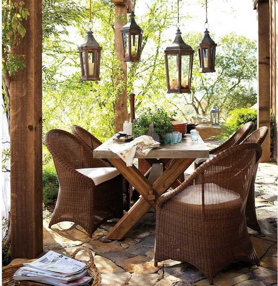 Marvelous Outdoor Ideas With Furniture And Old Rustic Wicker