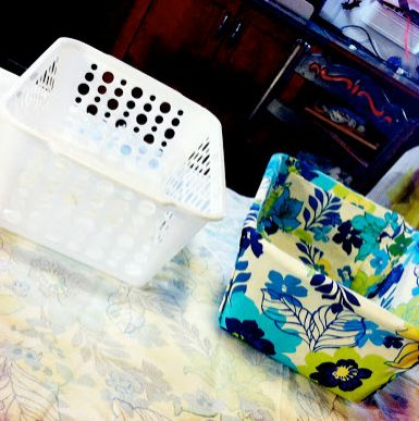 fabric lined bins. awesome. no sew!