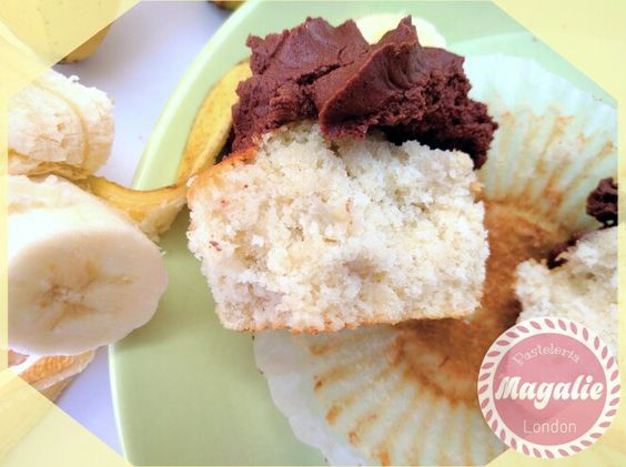 Banana cupcake with chocolate buttercream frosting.
