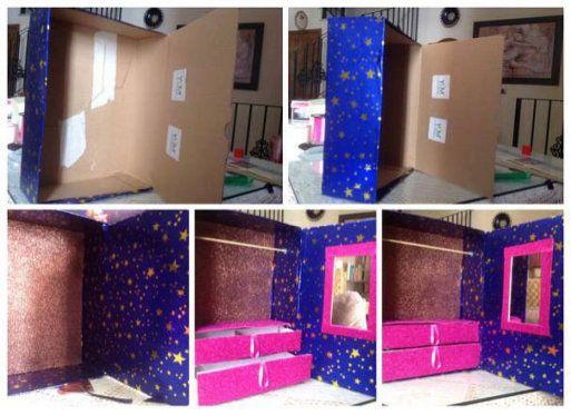 Hacer un armario para las mu ecas forrando una caja de - Construir un armario ...