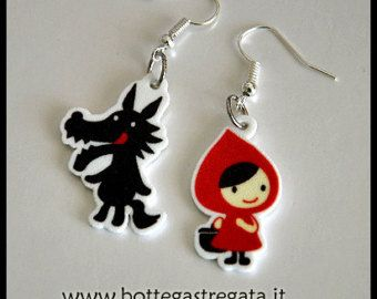 Orecchini Cappuccetto Rosso e il Lupo Little Red Riding Hood Wolf Earrings Fiaba