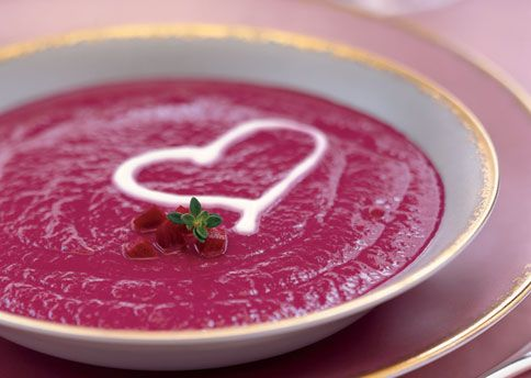 roasted beet soup with creme fraiche:
