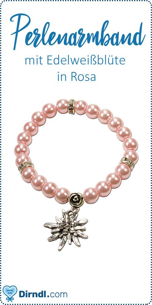 Perlenarmband Laura Edelweiß rosa | Perlenarmband, Hübsche