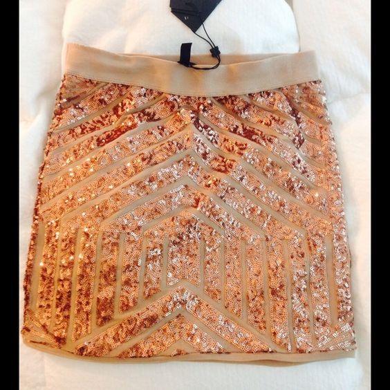 "Spotted while shopping on Poshmark: ""RARE Gold sequin BCBG MAXAZRIA skirt NWT""! #poshmark #fashion #shopping #style #BCBGMaxAzria #Dresses & Skirts"