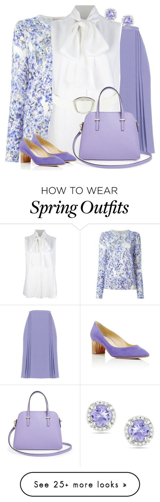 """Classic Spring Lilac"" by dsutlovic on Polyvore featuring Giambattista Valli, Victoria Beckham, Steve Madden, Kate Spade, Sarah Flint and Ice"