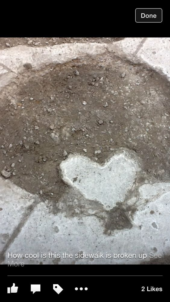 The sidewalk was broken up into this heart