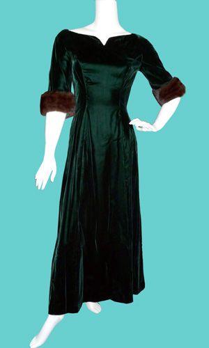 Vintage green velvet dress with mink trim; <3