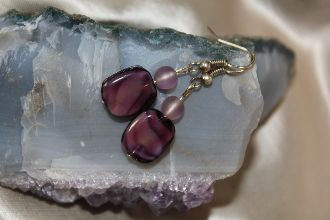 Amethyst Glass Swirl Earrings