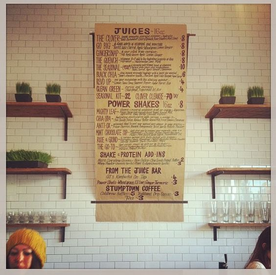 Handwritten coffee shop menu.