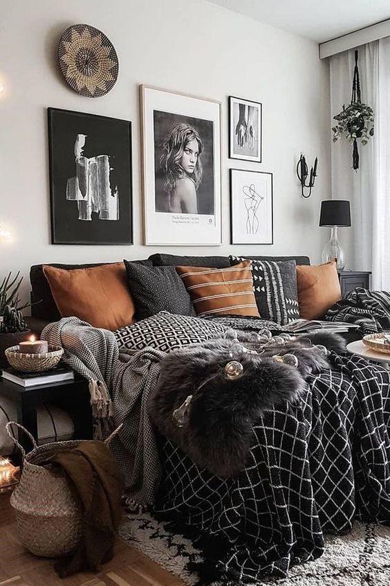 Living Room Boho Chic Bohemianism House Bedding Black In 2020