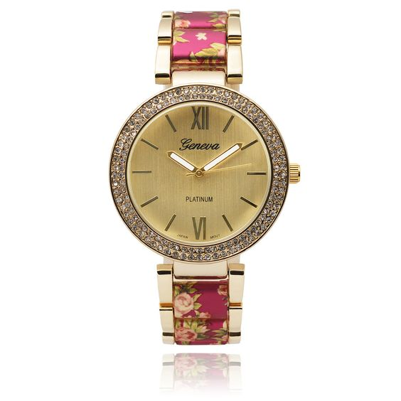Geneva Platinum Women's SW-2394 Rhinestone Accent Round Dial Quartz Link Floral Watch - Overstock™ Shopping - Big Discounts on Geneva Platinum Geneva Women's Watches