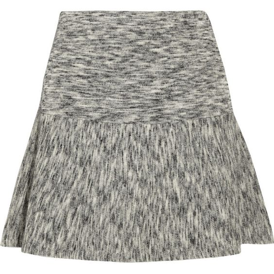 Theory Gida mélange stretch-wool mini skirt (175 CAD) ❤ liked on Polyvore featuring skirts, mini skirts, grey, stretch mini skirt, flared skirt, short flared skirt, flare short skirt and grey skirt