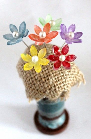 Bring Spring indoors by making shrink-plastic headpins. Perfect gift! From CraftTestDummies.com
