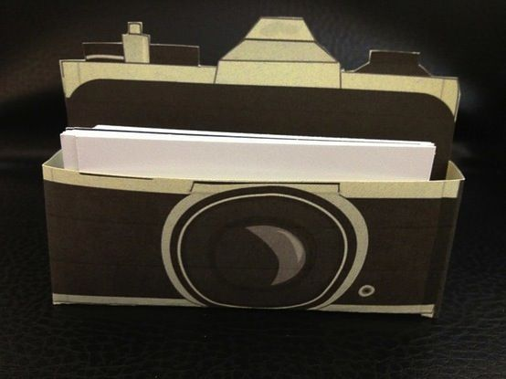 Display your photo sharing info cards in a camera-shaped holder | Offbeat Bride