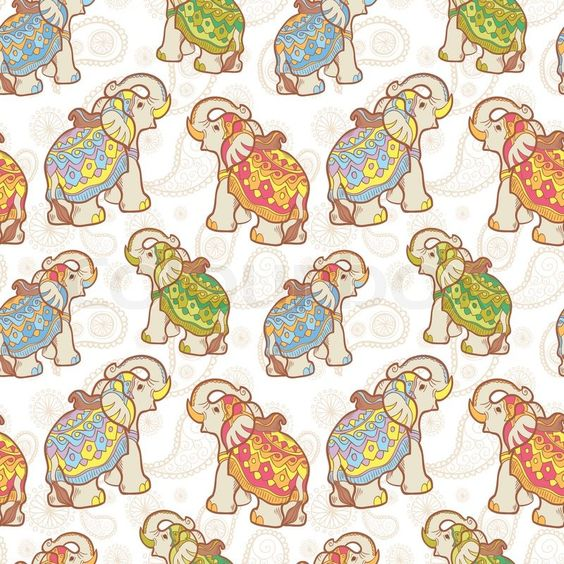 Stock-Vektor von 'Indische Elefanten nahtlose Muster'