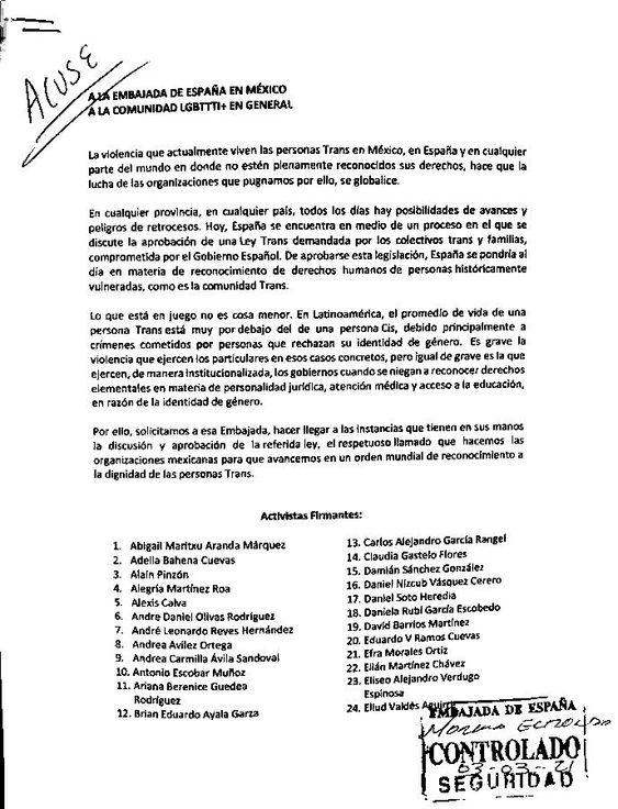 Activistas y organizaciones mexicanas, solicitan al Gobierno español la aprobación de la Ley Trans