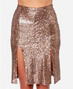 Christmas Gold Sequins Hip-wrapped Skirt - Clothing