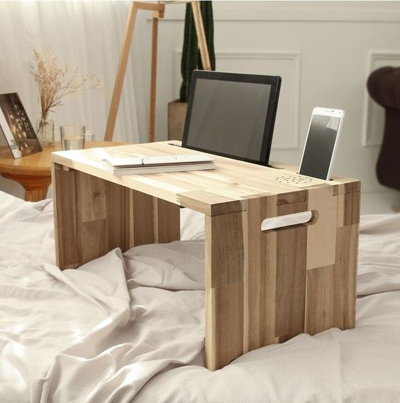 Smart Bed Tray Tablet Pc Mobile Device Phone Laptop Wooden Low