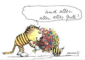 Janosch Tiger und Tigerente Postkarte Grußkarte Spruch alles Gute Herzlichen Glückwunsch und alles alles alles Gute