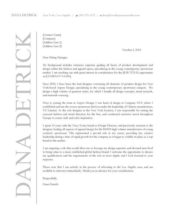 Apparel Design Cover Letter  Brooklyn Resume Studio  Cover
