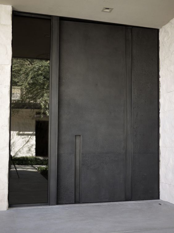 Steel Offset Pivot Entry Door With Glass Panel By Mc Nae Design Threshold Pinterest Entry