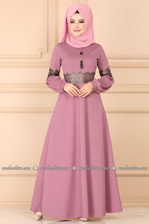 Modaselvim Elbise Gold Gupurlu Tesettur Elbise 3233pm271 Gul Kurusu Fashion Hijab Fashion Dresses