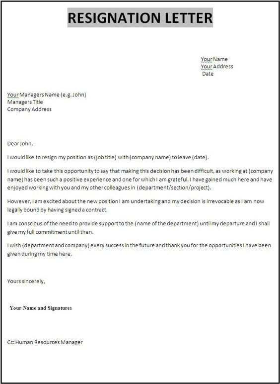 Image result for what is resignation letter template templates.net