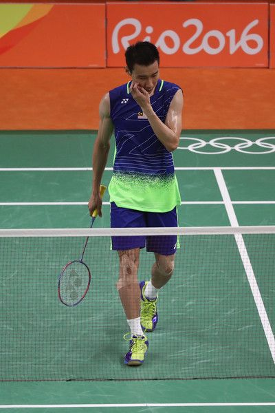 Chong Wei Lee of Malaysia reacts during the Men's Singles Badminton Gold Medal match on Day 15 of the Rio 2016 Olympic Games at Riocentro - Pavilion 4 on August 20, 2016 in Rio de Janeiro, Brazil.