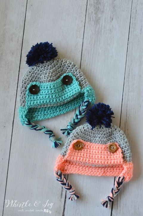 Baby Button Trapper Hat - This cozy hat is a cute and fun baby accessory for winter! {Free pattern by Whistle and Ivy}