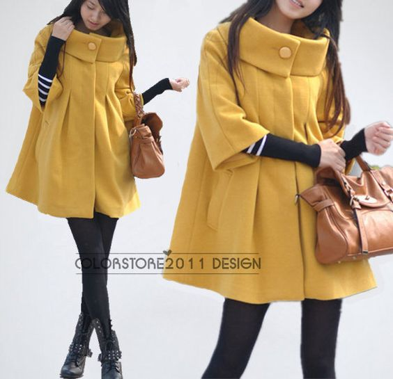 women's Princess style yellow cape Fitted Wool Coat jacket Wool