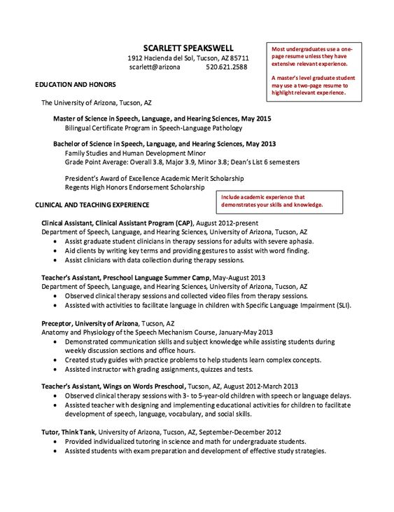 Speech Graduate Student Resume -    resumesdesign speech - speech language pathology resume