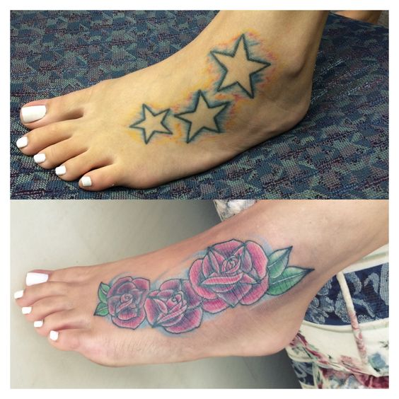 Before and after cover up tattoo on foot roses rose for Ankle tattoo cover ups