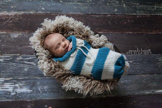 Dusty Blue Cream Newborn Knit Swaddle Sack | Beautiful Photo Props