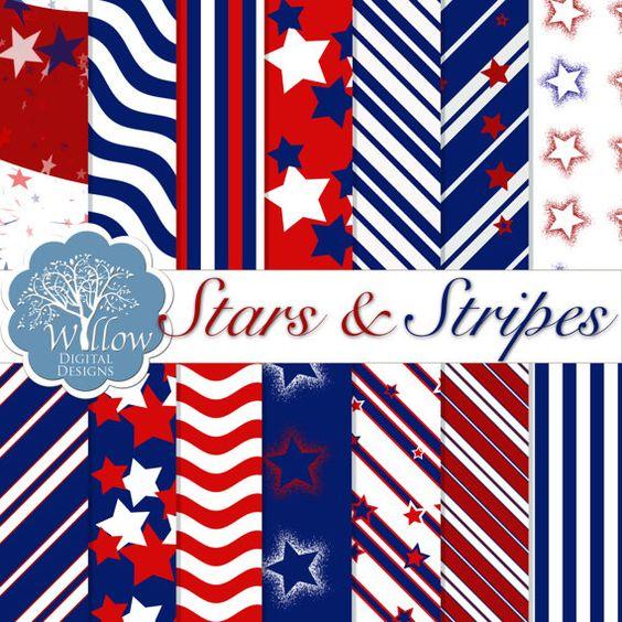 Stars and Stripes Digital Scrapbook Paper kit. Set Includes 14 designs on 12x12 300 DPI Digital Papers.