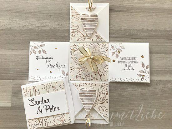 Explosionsbox Zur Hochzeit In Gold Kupfer Karte Hochzeit