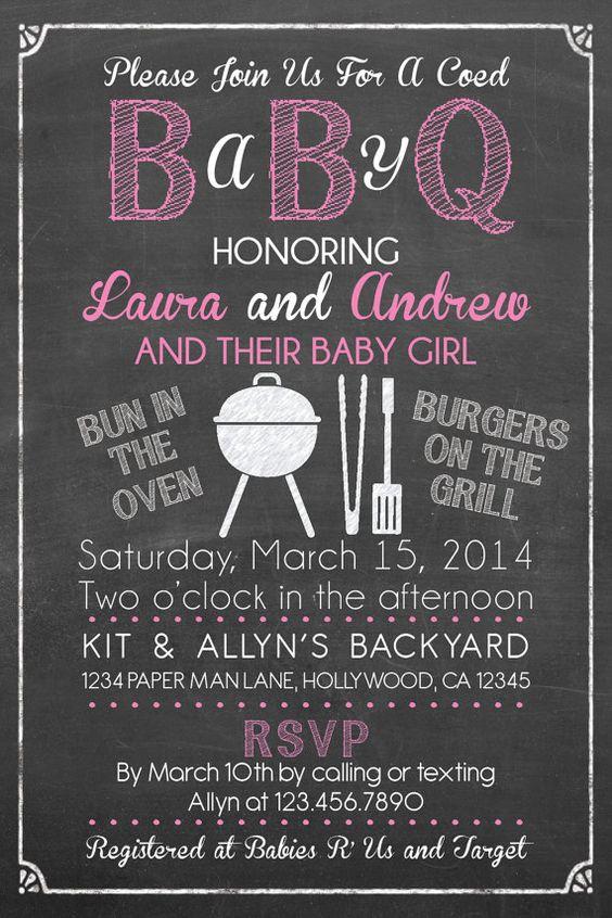 babyq girl baby q barbecue shower invitation set invite diaper
