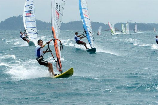 Wind surfing activities in Bintan Resort beach. by: Petrus M. Sitohang