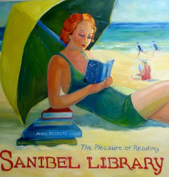 """Sanibel Library"" - Vintage-style artwork by Myra Roberts"