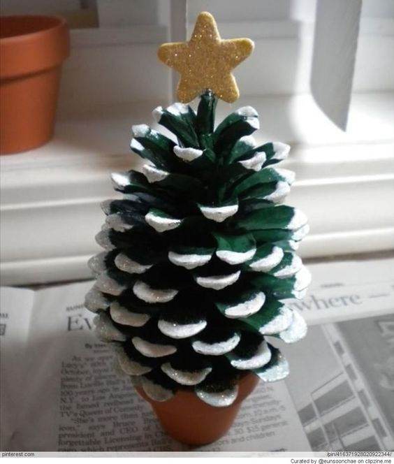 Christmas crafts pine cone tree and cone trees on pinterest for Pine cone christmas tree craft project