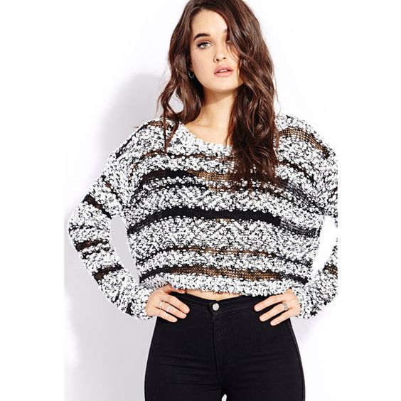 Forever 21 Women's  Retro Moment Cropped Sweater ($23) ❤ liked on Polyvore featuring tops, sweaters, outfits, models, cropped sweater, lightweight sweaters, stripe sweater, long sleeve crop top and textured sweater