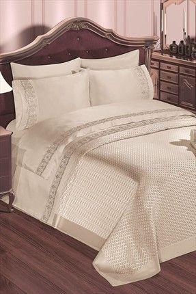Evlen Home & Alanur Home Collection - Çift Kişilik Dilara Evlilik Seti Krem TİV0024 %34 indirimle 499,99TL ile Trendyol da