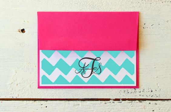 Custom Stationary Pink and Teal Turquoise by WhenItRainsShop, $13.00